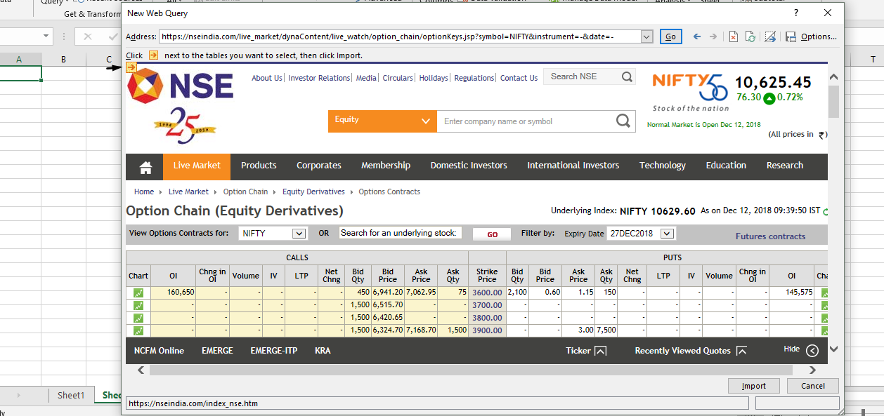 how to export option chain data to excel in sensibull kite