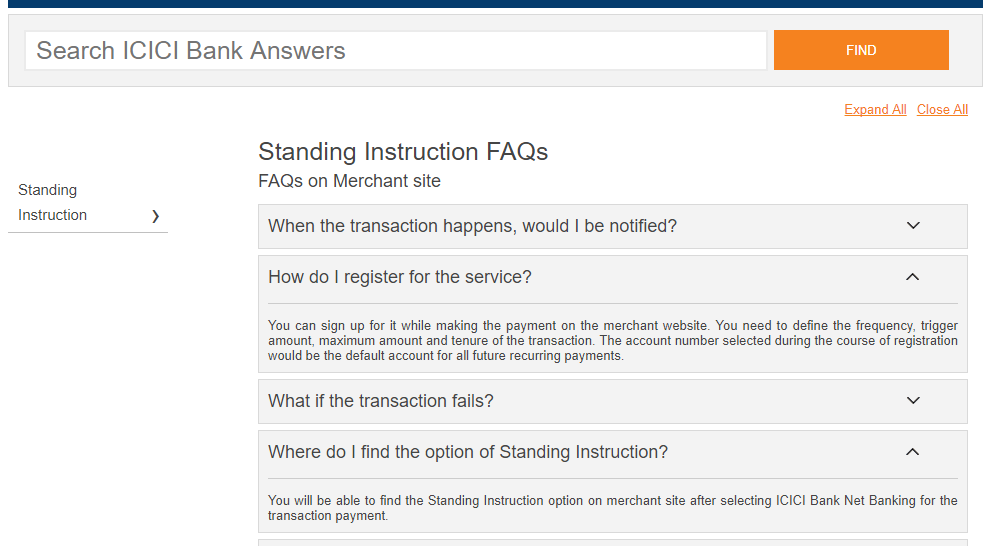 In how to create standing instructions in state bank of india.